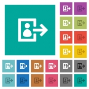 User logout multi colored flat icons on plain square backgrounds. Included white and darker icon variations for hover or active effects. - User logout square flat multi colored icons