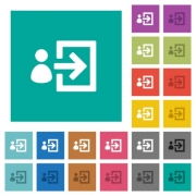 User login multi colored flat icons on plain square backgrounds. Included white and darker icon variations for hover or active effects. - User login square flat multi colored icons