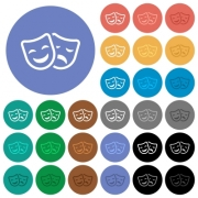 Comedy and tragedy theatrical masks multi colored flat icons on round backgrounds. Included white, light and dark icon variations for hover and active status effects, and bonus shades on black backgounds. - Comedy and tragedy theatrical masks round flat multi colored icons