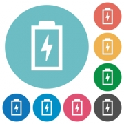 Battery with energy flat white icons on round color backgrounds - Battery with energy flat round icons