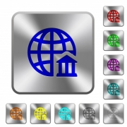 Internet banking engraved icons on rounded square glossy steel buttons - Internet banking rounded square steel buttons