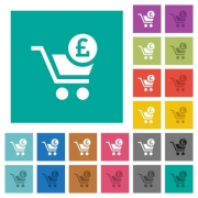 Checkout with Pound cart multi colored flat icons on plain square backgrounds. Included white and darker icon variations for hover or active effects. - Checkout with Pound cart square flat multi colored icons