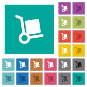 Hand truck multi colored flat icons on plain square backgrounds. Included white and darker icon variations for hover or active effects. - Hand truck square flat multi colored icons