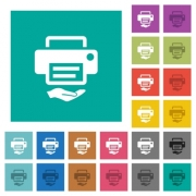 Shared printer multi colored flat icons on plain square backgrounds. Included white and darker icon variations for hover or active effects. - Shared printer square flat multi colored icons