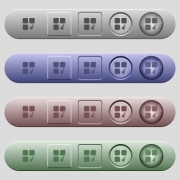 Component paste icons on rounded horizontal menu bars in different colors and button styles - Component paste icons on horizontal menu bars