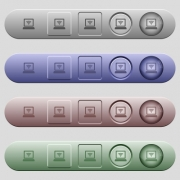 Laptop computer with wireless symbol icons on rounded horizontal menu bars in different colors and button styles - Laptop computer with wireless symbol icons on horizontal menu bars
