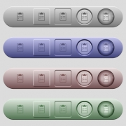 Checklist icons on rounded horizontal menu bars in different colors and button styles - Checklist icons on horizontal menu bars