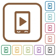 Mobile play media simple icons in color rounded square frames on white background
