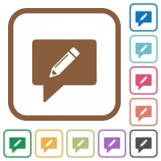 writing comment simple icons in color rounded square frames on white background - writing comment simple icons