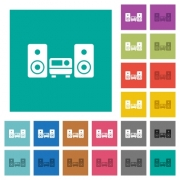 Stereo system multi colored flat icons on plain square backgrounds. Included white and darker icon variations for hover or active effects. - Stereo system square flat multi colored icons