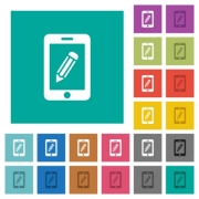 Smartphone memo multi colored flat icons on plain square backgrounds. Included white and darker icon variations for hover or active effects. - Smartphone memo square flat multi colored icons