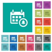 Calendar alarm multi colored flat icons on plain square backgrounds. Included white and darker icon variations for hover or active effects. - Calendar alarm square flat multi colored icons