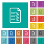 Questionnaire document multi colored flat icons on plain square backgrounds. Included white and darker icon variations for hover or active effects. - Questionnaire document square flat multi colored icons