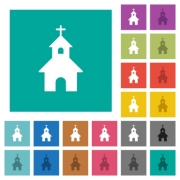 Curch multi colored flat icons on plain square backgrounds. Included white and darker icon variations for hover or active effects. - Curch square flat multi colored icons