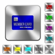 Member card engraved icons on rounded square glossy steel buttons - Member card rounded square steel buttons