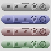 Overlapping elements icons on rounded horizontal menu bars in different colors and button styles - Overlapping elements icons on horizontal menu bars