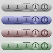 Stamp icons on rounded horizontal menu bars in different colors and button styles - Stamp icons on horizontal menu bars