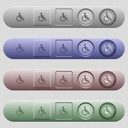 Disability icons on rounded horizontal menu bars in different colors and button styles - Disability icons on horizontal menu bars