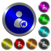 User home icons on round luminous coin-like color steel buttons - User home luminous coin-like round color buttons