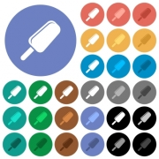 Ice lolly multi colored flat icons on round backgrounds. Included white, light and dark icon variations for hover and active status effects, and bonus shades on black backgounds. - Ice lolly round flat multi colored icons