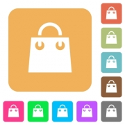 Shopping bag flat icons on rounded square vivid color backgrounds. - Shopping bag rounded square flat icons