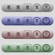 Database transaction commit icons on rounded horizontal menu bars in different colors and button styles - Database transaction commit icons on horizontal menu bars