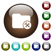 Directory tools white icons on round color glass buttons - Directory tools color glass buttons