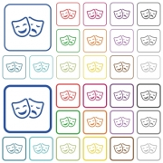 Comedy and tragedy theatrical masks color flat icons in rounded square frames. Thin and thick versions included. - Comedy and tragedy theatrical masks outlined flat color icons