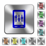 Mobile tweaking engraved icons on rounded square glossy steel buttons - Mobile tweaking rounded square steel buttons