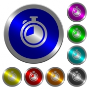 Timer icons on round luminous coin-like color steel buttons - Timer luminous coin-like round color buttons