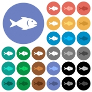 Fish multi colored flat icons on round backgrounds. Included white, light and dark icon variations for hover and active status effects, and bonus shades on black backgounds. - Fish round flat multi colored icons