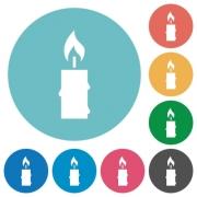 Burning candle with melting wax flat white icons on round color backgrounds - Burning candle with melting wax flat round icons