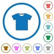 T-shirt flat color vector icons with shadows in round outlines on white background - T-shirt icons with shadows and outlines