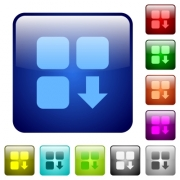 Move down component icons in rounded square color glossy button set - Move down component color square buttons