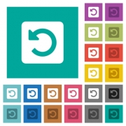 Rotate left multi colored flat icons on plain square backgrounds. Included white and darker icon variations for hover or active effects. - Rotate left square flat multi colored icons