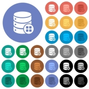 Database modules multi colored flat icons on round backgrounds. Included white, light and dark icon variations for hover and active status effects, and bonus shades on black backgounds. - Database modules round flat multi colored icons
