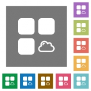 Cloud component flat icons on simple color square backgrounds - Cloud component square flat icons