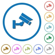 Security camera flat color vector icons with shadows in round outlines on white background - Security camera icons with shadows and outlines