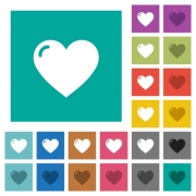 Heart shape multi colored flat icons on plain square backgrounds. Included white and darker icon variations for hover or active effects. - Heart shape square flat multi colored icons
