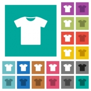 T-shirt multi colored flat icons on plain square backgrounds. Included white and darker icon variations for hover or active effects. - T-shirt square flat multi colored icons