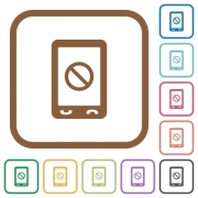 Mobile disabled simple icons in color rounded square frames on white background - Mobile disabled simple icons