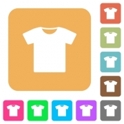 T-shirt flat icons on rounded square vivid color backgrounds. - T-shirt rounded square flat icons