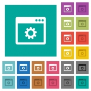 Application settings multi colored flat icons on plain square backgrounds. Included white and darker icon variations for hover or active effects. - Application settings square flat multi colored icons