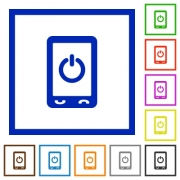 Mobile power off flat color icons in square frames on white background - Mobile power off flat framed icons