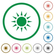 Sun flat color icons in round outlines on white background - Sun flat icons with outlines