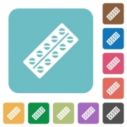 Batch of pills in blister pack white flat icons on color rounded square backgrounds - Batch of pills in blister pack rounded square flat icons