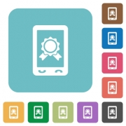 Mobile certification white flat icons on color rounded square backgrounds - Mobile certification rounded square flat icons