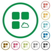 Cloud component flat color icons in round outlines on white background - Cloud component flat icons with outlines