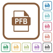 PFB file format simple icons in color rounded square frames on white background - PFB file format simple icons