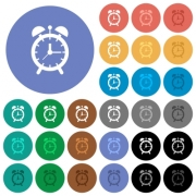 Alarm clock multi colored flat icons on round backgrounds. Included white, light and dark icon variations for hover and active status effects, and bonus shades on black backgounds. - Alarm clock round flat multi colored icons